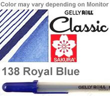138 royal blue fine sakura gelly roll pen