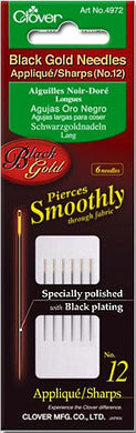 size 12 applique sharps black gold needles 6 count by clover