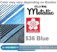 536 blue metallic sakura gelly roll