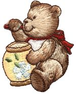 teddy with honey pot thread applique