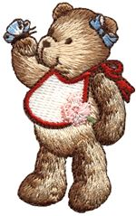 bear with butterfly thread applique