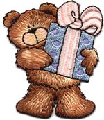 bear with present thread applique