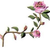 roses 2 extra large pink thread applique