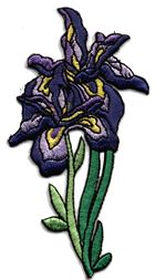 two purple iris thread applique
