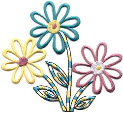 pastel flowers thread applique