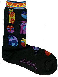 feline fesitval black socks laurel burch sole mates