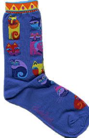 feline festival blue socks laurel burch sole mates