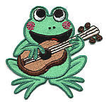 thread applique frog with guitar