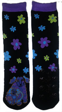 dog doggie knee high slipper socks with grippers laurel burch
