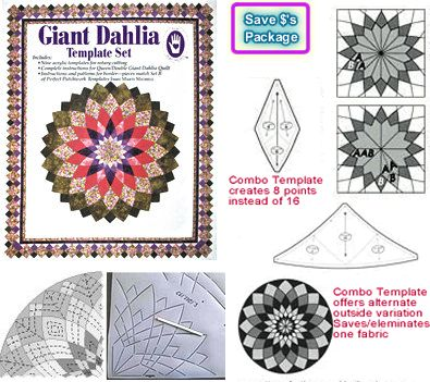 giant dahlia super package 1 template set 2 giant dahlia optional center templates