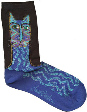 blue tribal zig zag cat laurel burch sole mates socks