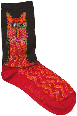 red tribal zig zag cat laurel burch sole mates socks