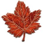 maple leaf orange thread applique