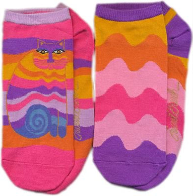 pink rainbow cat no show socks 2 pack laurel burch sole mates