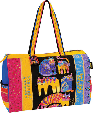 BXBLB5122   Fantastic Feline Totem Travel Bag  Designed by Laurel Burch, 21x8x15 inches