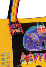 Load image into Gallery viewer, BXBLB5121   Fantastic Feline Totem Large Shoulder Tote  Designed by Laurel Burch, 20.5x 5.5x15 inches