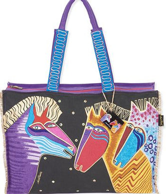 lb5531 talking horses oversized tote design laurel burch