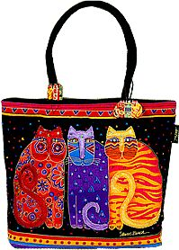 lb771 feline friends tote square laurel burch design