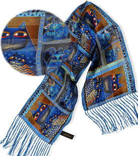 indigo cat portriats scarf laurel burch
