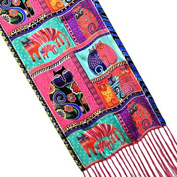 lbs171 feline collage scarf laurel burch
