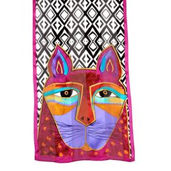 Whiskered Cats Laurel Burch Designer Classic Silk Scarf