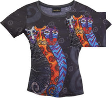 Load image into Gallery viewer, gatos fantasticos laurel burch t shirt