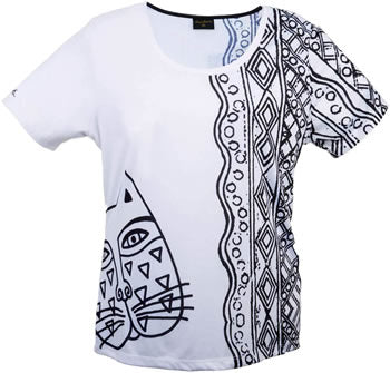 black white feline face laurel burch t shirt