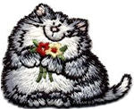 cat with flowers thread applique