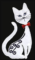 siamese satin white thread applique
