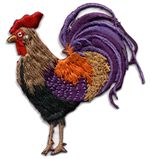 rooster facing thread applique