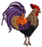 rooster facing right thread applique
