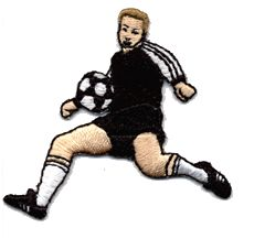 soccer player black shirt thread applique