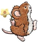 mouse flower thread applique