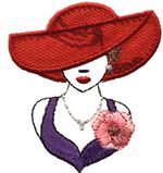 red hat portrait thread applique