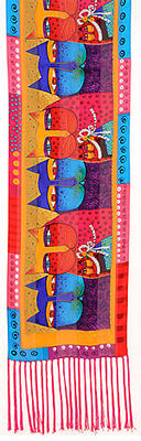 feline family scarf laurel burch