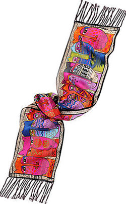 tribal felines scarf laurel burch
