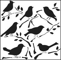 birds crafters workshop template stencil