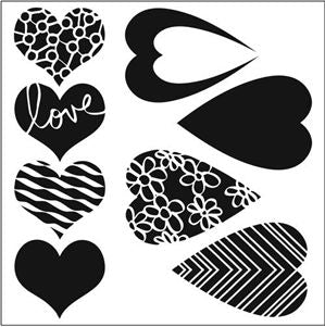 mix&match hearts crafters workshop template stencil