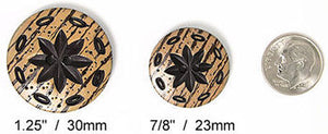 faux woodgrain flower dill buttons