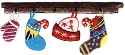 x mas socks in row thread applique