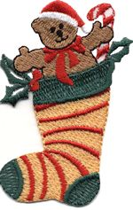 xmas sock with bear thread applique