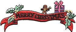 xmas banner red green thread applique
