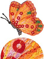 sequin butterfly orange thread applique