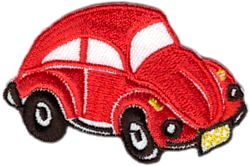 red volkswagon beetle thread applique