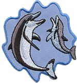 2 dolphins in wave thread applique