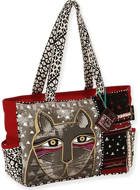 lb5312 whiskered cat medium large tote design laurel burch