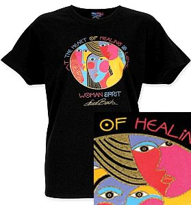LBT022   At The Heart of Healing is Love, Laurel Burch Artistic T-shirt
