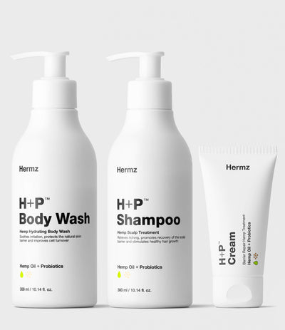 H+P Cream Body Wash and Shampoo Set |2 x 300 ml / 10.14 fl. oz. + 50 ml / 1.7 fl. oz.