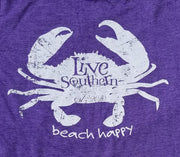 Crab - Beach Happy Heather Purple V-Neck