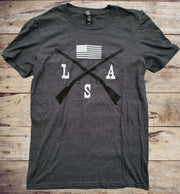 Cross Rifle & Flag LSA Gray Short Sleeve